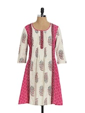 Off-White And Pink Printed Kurta - Aaboli