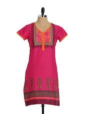 Pink Short Sleeve Straight Long Kurta - Aaboli