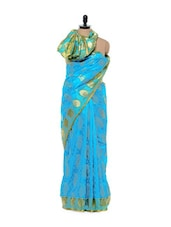 Sky Blue Cotton Silk Saree - Mandala