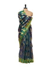 Blue And Green Dhup Chhaya Handloom Banarasi Silk Saree - Mandala