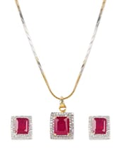 Elegant American Diamonds Square Shaped Pendent Necklace And Earrings With Red Colored Semi-precious Stone. - ESmartdeals