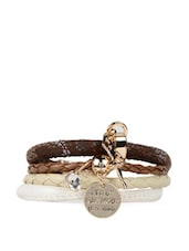 Multiple Faux Leather Strap Bracelet With Metal Embellishment - ESmartdeals