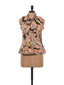 Multi Colored Floral Top With A Bow Tie-up - FEMME INDIA