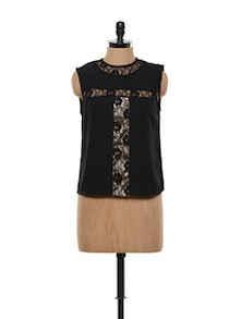 Black Laced Cut-sleeves Top - FEMME INDIA