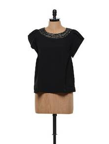 Black Top With Ruffled Sleeves - FEMME INDIA