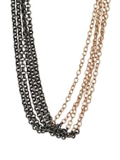 Black And Gold Toned Chain Necklace - Blueberry