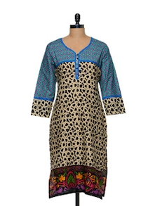 Vibrant Blue Printed Kurti - Awesome