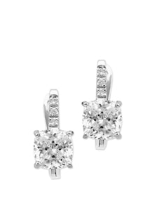 Unique Crystal Studded Silver Earrings - Tanya Rossi, Italy