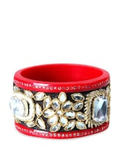 Red And Black Kada With White Beads And Stones - Blingles
