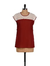 Lace Touch Sheer Georgette Maroon Top - Purplicious