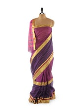Purple Cotton Blend Saree - Aura