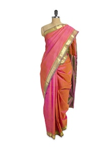 Shiny Rose Pink Saree With Zari Border - Pratiksha