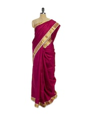 Shiny Dark Pink Saree With Zari Border - Pratiksha