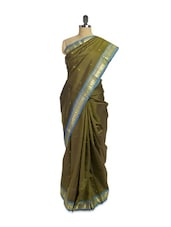 Green Saree With Blue And Gold Border - Pratiksha