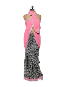 Pink And Black Saree - Get Style At Home