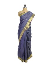 Dark Grey Handloom Silk Saree With Zari Border - Pratiksha