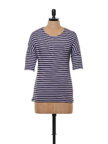 Purple, Black And White Striped Cotton Knit Tee - Gritstones 851832
