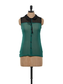 Sheer Genius Black And Forest Green Shirt - Gritstones