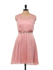 Dotted Pink Dress With Fabric Belt - Mishka