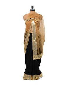 Black And Beige Saree - Get Style At Home