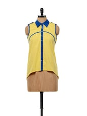 Sporty Yellow Cotton Shirt Top - Mishka