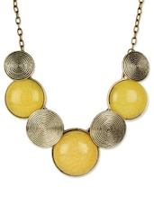 Yellow And Antique Gold Crew Necklace - Fayon