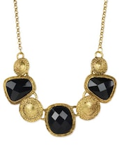 Black And Antique Gold Crew Necklace - Fayon
