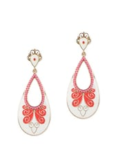 Acrylic Beads Embedded White Drop Earrings - Fayon