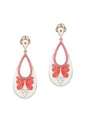 Acrylic Beads Embedded White Drop Earrings - Fayon