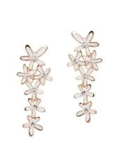 White Flowers Crystal Studded Danglers - Fayon
