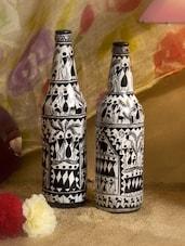 Black And White Fine Saura Art Handpainted Bottle(Single) - ARM'S