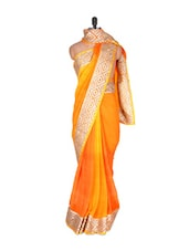 Zari Detailed Orange Chiffon Saree - Vishal Sarees