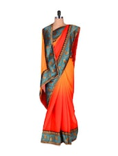 Lotus-detailed Ombre Georgette Saree - Vishal Sarees