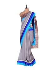 Brocade Border Grey Georgette Saree - Vishal Sarees
