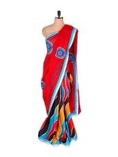 Wavy Colourful Red Zari-bordered Saree - Vishal Sarees