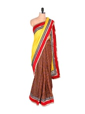 Satin Saree With Zari Detailed Border - Vishal Sarees