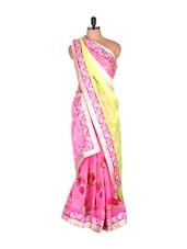 Rose Print Pale Yellow And Pink Saree - Vishal Sarees