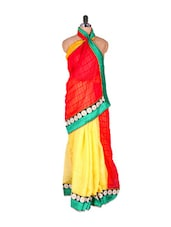 Georgette Super Net Red And Yellow Saree - Vishal Sarees
