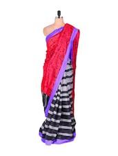 Art Silk Saree With Abstract Print - Vishal Sarees