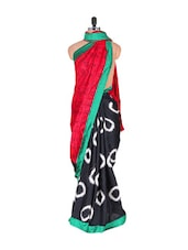 Abstract Print Saree In Red Art Silk - Vishal Sarees