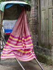 Pink Pure Silk Saree With Muslin Aanchal - Cotton Koleksi
