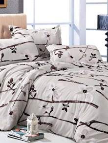 White Floral Print Bedcover Set - Story @ Home