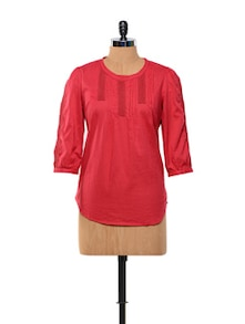 Raspberry Red Cotton Top - Kaxiaa