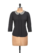 Black Full-sleeved Top With Embellished Peter Pan Collar - Concepts