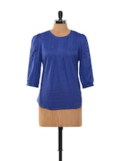 Dark Blue Cotton Top - KAXIAA