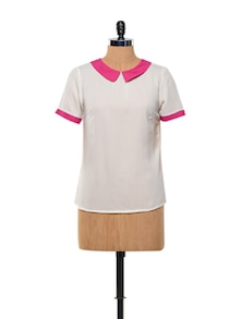 White Peter Pan Collar Top - Kaxiaa
