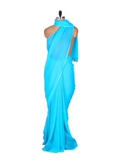 Simple Sky Blue Saree - DyeFab