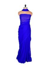 Simple Royal Blue Saree - DyeFab