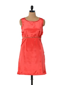 Coral Satin Dress With Metal Embellishments - Kaxiaa
