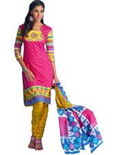 Printed Pink Unstitched Dress Material - Ethnic Vibe